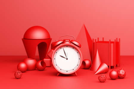 Red Alarm Clock with red geometric shape on a red background. 3d Rendering
