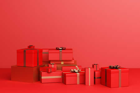 Red a lot of gift box on a red background. 3d Rendering