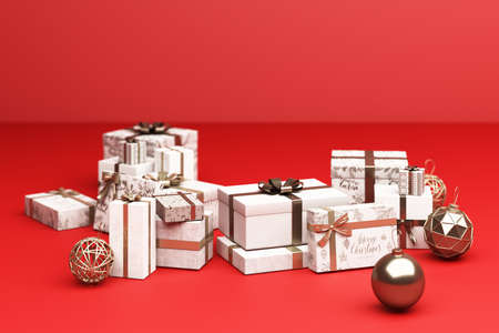 a lot of white and gold giftbox on red background 3d rendering