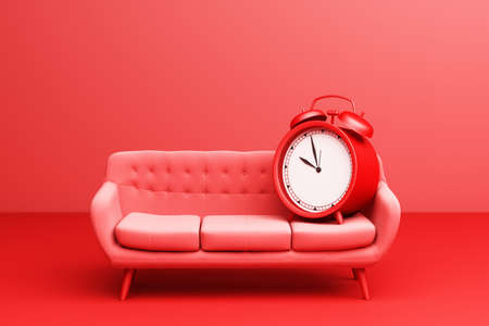 Red Alarm Clock with red Simple Modern Sofa Furniture on a red background. 3d Rendering