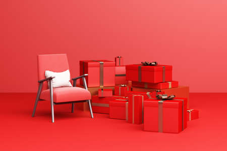 Red armchair fabric with red giftbox on a red background. 3d Rendering