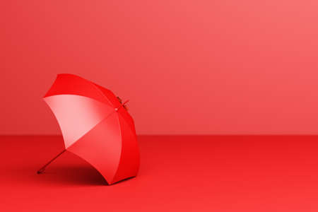 Red umbrella on red background. 3d rendering Stock Photo