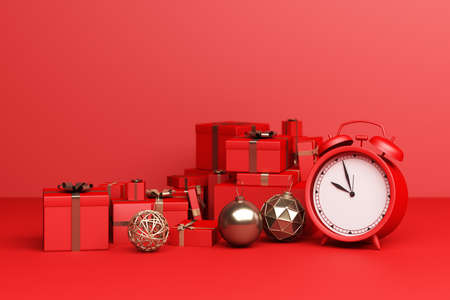 Red Alarm Clock with red a lot of giftbox on a red background. 3d Rendering Stock Photo