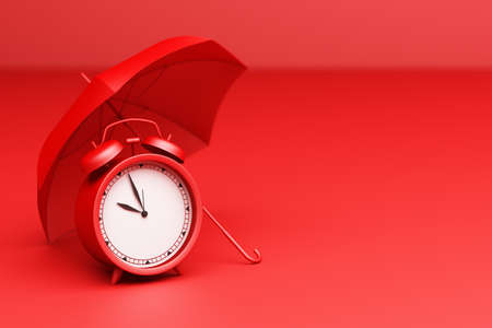 Red Alarm Clock with umbrella on a red background. 3d Rendering