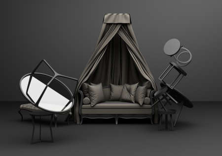 Gray Furniture classic sofa armchair fun composition on black  background 3d rendering Stock Photo