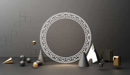 Golden podium display mockup on black abstract background with geometric shape product minimal china presentation, 3d rendering. Stock Photo