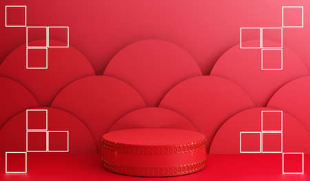 Chinese new year, Golden podium display mockup on red abstract background with geometric shape product minimal presentation, 3d rendering. Stock Photo