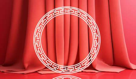 Chinese new year, Golden podium display mockup on red abstract background with geometric shape and curtain product minimal presentation, 3d rendering. Stock Photo