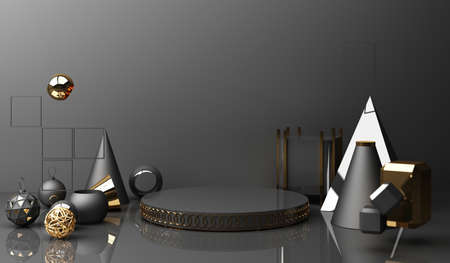 Golden podium display mockup on black abstract background with geometric shape product minimal china presentation, 3d rendering.