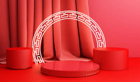 Chinese new year, Golden podium display mockup on red abstract background with geometric shape and curtain product minimal presentation, 3d rendering.