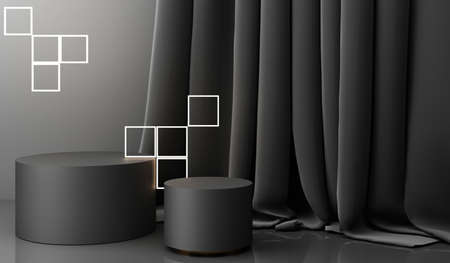 Golden podium display mockup on black abstract background with geometric shape and curtain product minimal china presentation, 3d rendering. Stock Photo