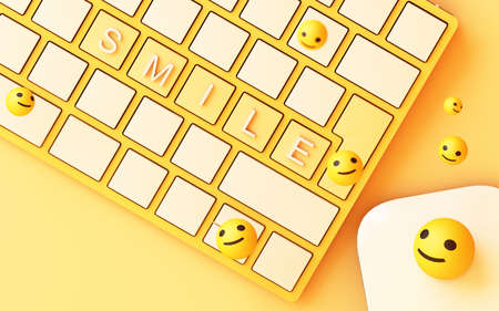 Computer keyboard with yellow smile key and smile face on yellow background - social network concept 3d rendering