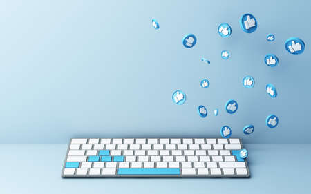 Computer keyboard with blue thumb up icon on blue background - social network concept 3d rendering