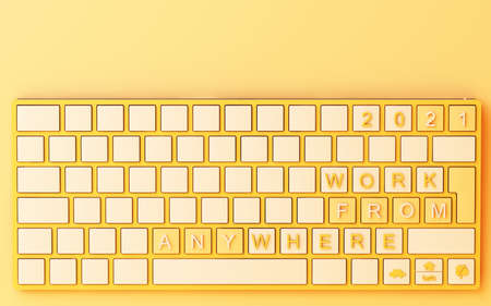 Computer keyboard with yellow work from home text on yellow background - covid-19 concept 3d rendering