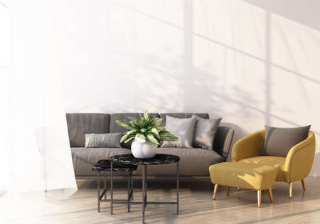 grey sofa and yellow armchair bed on wooden floor Light shines through the window and shadows fall on it. with white wall and sheer 3d rendering Standard-Bild