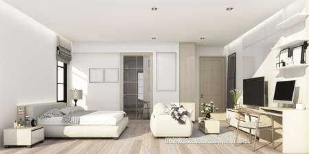 white and wood texture bedroom with living area with wall decoration and tv cabinet 3d rendering