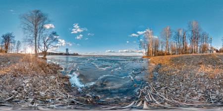 3D spherical panorama with 360 viewing angle. Cold blue sunset on the lake.