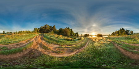 Spherical panorama. Fog near the forest. 360. Stock Photo