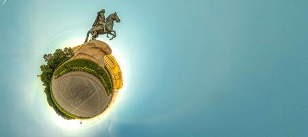 Little planet with bronze hourseman. Russia, St. Petersburg Stock Photo