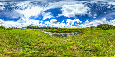 3D spherical panorama with 360 viewing angle. Ready for virtual reality or VR. Full equirectangular projection. Cold blue sky with green grass and with lake at summer.