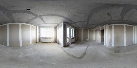 3D spherical panorama with 360 viewing angle. Ready for virtual reality or VR. Full equirectangular projection. interior under construction. home renovation.