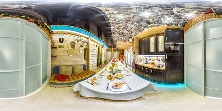3D spherical panorama with 360 viewing angle.  Ready for virtual reality or VR. Full equirectangular projection. Kitchen's interior with a served table. Foto de archivo