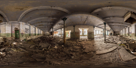 3D spherical panorama with 360 viewing angle.  Ready for virtual reality or VR. Full equirectangular projection. ghost town. Interior of abandoned industrial building. architecture of the city Stok Fotoğraf