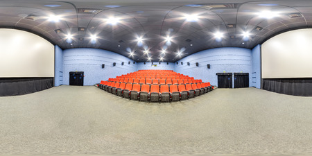 3D spherical panorama with 360 viewing angle. Ready for virtual reality or VR. Full equirectangular projection. Interior of cinema hall. Stock fotó