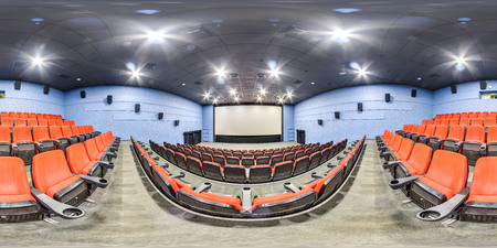 3D spherical panorama with 360 viewing angle. Ready for virtual reality or VR. Full equirectangular projection. Interior of cinema hall. Banque d'images