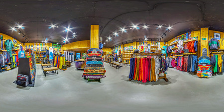 MOSCOW RUSSIA NOVEMBER 11 2016  Shop sporting goods for active and extreme sports. Snowboards, skis, bicycles, skateboards. 3D spherical panorama, 360 viewing angle. Full equirectangular projection. Redakční