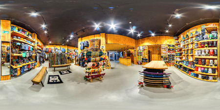 MOSCOW RUSSIA DECEMBER 21 2017  Shop sporting goods for active and extreme sports. Snowboards, skis, bicycles, skateboards. 3D spherical panorama, 360 viewing angle. Full equirectangular projection.