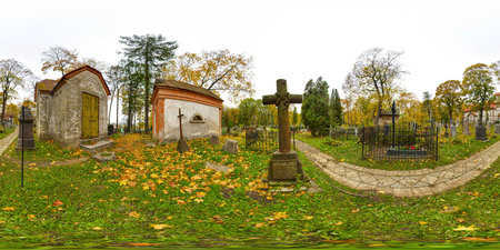 3D spherical panorama with 360 viewing angle. Ready for virtual reality or VR. Full equirectangular projection. Old cemetery. Old churchyard.
