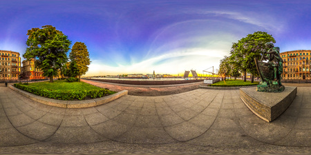 Saint-Petersburg - 2018: View of the Palace Bridge. White nights. Blue sky. 3D spherical panorama with 360 viewing angle. Ready for virtual reality. Full equirectangular projection.