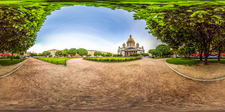Saint-Petersburg - 2018: Saint Isaac's Cathedral. White nights. Blue sky. 3D spherical panorama with 360 viewing angle. Ready for virtual reality. Full equirectangular projection.