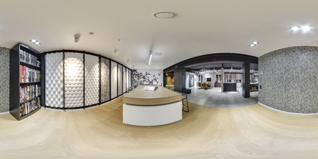 Moscow - 2018: Beautiful fashionable interior of furniture design store in modern mall with loft interior. Concrete floor with dark gray ceiling. Cream color. wallpaper
