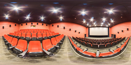 Moscow-2018: background. 3D spherical panorama with 360 degree viewing angle of cinema hall interior with red color seats and screen. Ready for virtual reality in vr. Full equirectangular projection. Foto de archivo