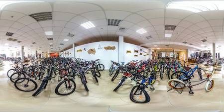 Moscow-2018: 3D spherical panorama with 360 degree viewing angle of empty interior of bicycle store with a lot of bike. Ready for virtual reality in vr. Full equirectangular projection.