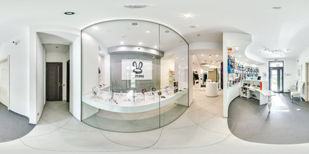 Moscow - 2018: 3D spherical panorama with 360 degree viewing angle of fashionable interior of electronics store with phones. Equirectangular projection. Ready for virtual reality vr.