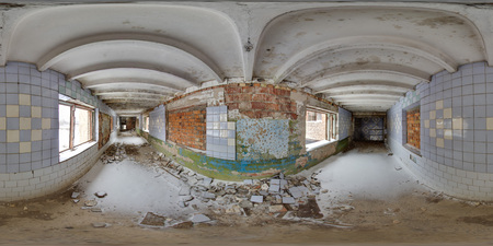 Old soviet architecture 3D spherical panorama with 360 degree viewing angle Abandoned building in winter with snow in Pripyat For virtual reality in vr Full equirectangular projection Scary background