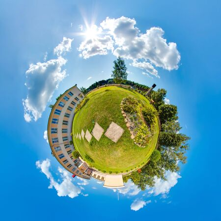 Mini planet Earth. Little planet earth with 360 viewing angle. Summer little planet with trees, green grass and sun. Globe panorama of world.