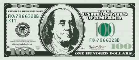 Hundert Dollar Standard-Bild - 14258302