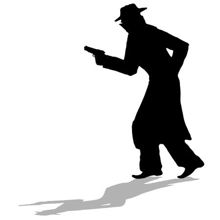 cunning: detective - negro silueta de hombre con pistola Vectores