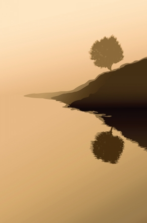 morning walk: lonely tree and foggy morning - vector illustration