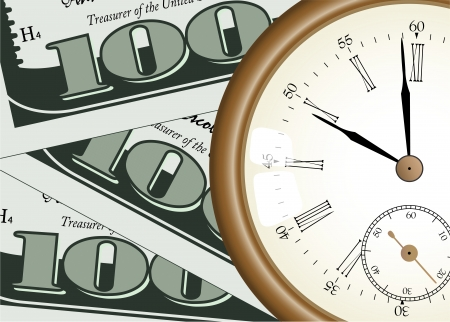 Time is money  concept - vector illustration - pocket watch on one hundred dollars background Vector