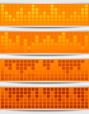 resentation: Set Of Orange Mosaic Banners Illustration