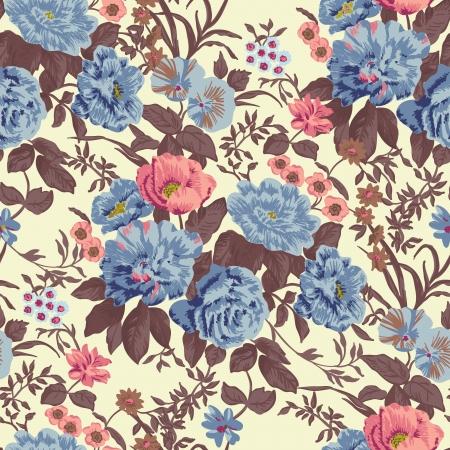 Floral seamless vector wallpaper Standard-Bild - 17188323