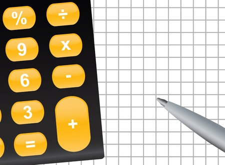 illustration of calculator and pen with copyspace Vector
