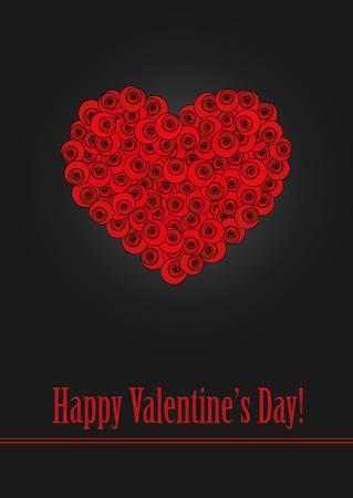 Ein Herz aus stilisierten roten Rosen. Standard-Bild - 71065491
