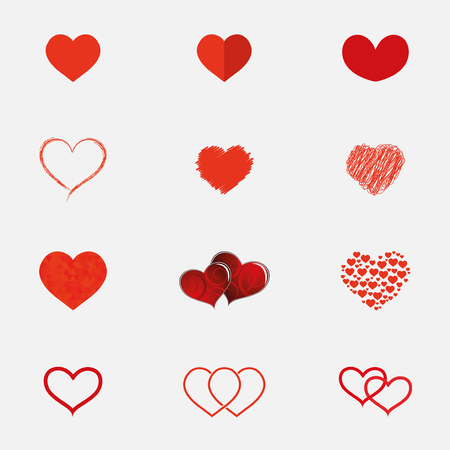 Set of hearts icons in different styles Illustration