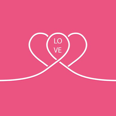 Paar weiße Linie Herzen. Valentinstagkarte. Standard-Bild - 71065488